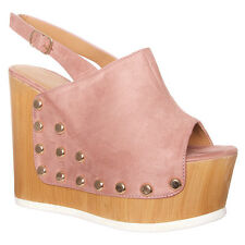 Womens Ladies Suede Large Block Wooden Effect Heel Wedges Holiday Shoe Size