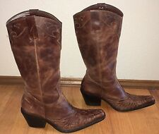 MIA BRAZILIAN BROWN LEATHER APPLIQUE EAGLE INLAY WESTERN COWBOY BOOTS 7 1/2 M