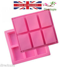 6 Cavity Cell Rectangle Silicone Soap Chocolate Cake Mould Tray FREE UK DELIVERY