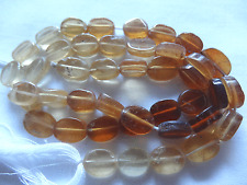 "14 1/2"" Str 8-10mm Long Natural Hessonite Garnet Flat Oval Stone Beads #A368 DNG"