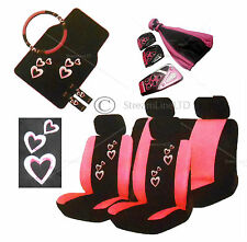 20 Piece Pink Heart Love Car Seat Steering Wheel Covers Mats Gear Knob Pedal set