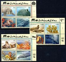 UN 2008 Endangered Species Inscr Blocks of 4. All 3 Offices - Mint Never Hinged