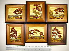 Hand Made Mosaic Baltic Amber Natural Wooden Pictures #121 LOT of 6pcs