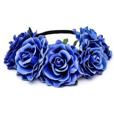 Women Bridal Rose Flower Garland Crown Headband Headpiece Hairband Wedding New