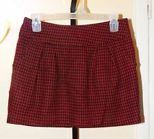 Super Cute! FOREVER 21 Red/Navy Blue Houndstooth Print Shorter Mini Skirt MEDIUM