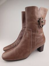 ECCO Brown Leather Zip Up Ankle Boots Sz 38