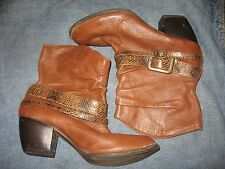 WOMENS 8.5 BKE SOLE BROWN LEATHER ANKLE BOOTS HARNESS SNAKESKIN WESTERN FASHION