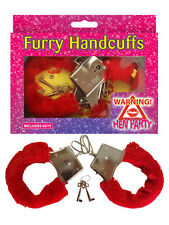 Metal Red Fluffy Furry Handcuffs Fancy Dress Sexy Role Play Night Toy Hen Night