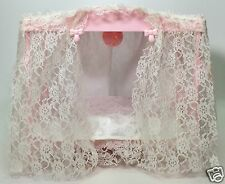 1982 VINTAGE BARBIE CANOPY BED 4 POSTER LIGHTED LACE ACCESSORIES USED
