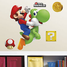 "New 31"" SUPER MARIO & YOSHI WALL DECALS Giant Stickers Kids Video Game Decor"