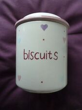 BHS CUPCAKE BISCUIT CHINA BARREL,CREAM/COLOURED HEARTS,GOOD SEAL TO KEEP FRESH