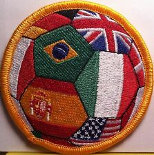World Soccer Ball Flags Embroidery Iron-On Patch US, Brazil, Germany, UK & More