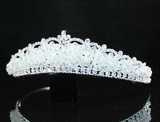AWESOME CLEAR AUSTRIAN RHIESTONE CRYSTAL BEAD TIARA HEADBAND SILVER BRIDAL T1633