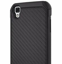 LG Tribute HD / Volt 3 / X Style - HARD TPU HYBRID CASE COVER BLACK CARBON FIBER