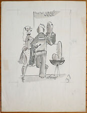 Dessin original cartoon humour érotique vers 1965 Playboy Adam prostituée
