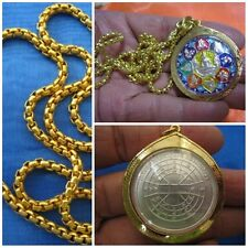Silver Coin LP Sothorn Zodiac Buddhism in Gold Case & Necklace Thai Amulet G17