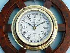 Ship's Time Wood and Brass Ship Wheel Wall Clock 12""