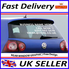 Personalised business Car rear window Van Vinyl Signs Sticker Advertise 600/300