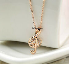 18K Rose Gold Gp Austrian Crystal Beautiful musical note Necklace BR633
