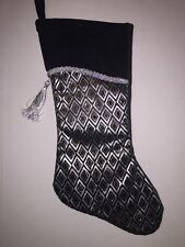 Christmas Holiday Stocking Black with Silver & Gold Diamond Elegant Tassel