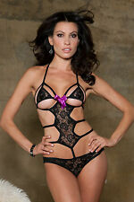 Strappy lace monokini teddy with contrast bow accent. Sexy Black Lingerie!