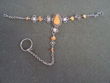 1 NEW SILVER ALPACA BRACELET WITH RING ATTACHED
