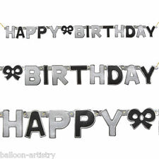 BLACK GLITZ Happy Birthday Party Jointed Letter Banner Decoration