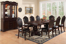 NEW 9PC FORMAL DARK CHERRY FINISH WOOD DINING TABLE SET