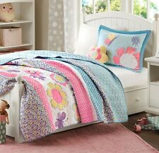 CRAZY DAISY Full Queen QUILT SET : TEEN GIRLS BLUE FLORAL GARDEN FLOWERS BEDDING