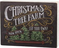 """"""" Christmas Tree Farm Now Open Cut Your Own!"""" Wood Box Sign Primitives by Kathy"""