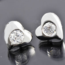 Womens Childrens Girls Silver Heart crystal lucky Stud Earrings Silver filled