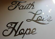 Love Faith Hope Polished Steel Words Metal Wall Art Accents