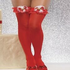 7990 - Sexy red Christmas stockings with white fur red bow and jingling bell O/s