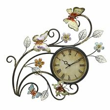 Juliana Contemporary Butterfly Metal Wall Art Clock
