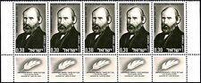 ISRAEL 1968 - AVRAHAM MAPU - NOVELIST - BOTTOM ROW OF 5 WITH TABS - MNH