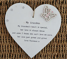 Personalised Grandma gift beautiful Heart Plaque granny nana nanny nannie gran