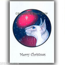 SIAMESE CAT GLITTER CHRISTMAS CARDS FROM ORIGINAL PAINTING BY SUZANNE LE GOOD