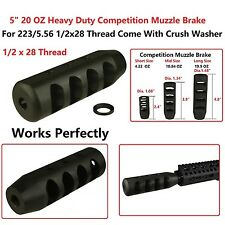 "1/2x28 Thread Heavy Duty Competition Muzzle Brake, 5"" & 20 OZ,With Crush Washer"