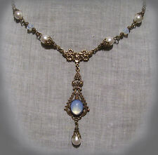 BRASS FILIGREE GLASS WHITE OPAL PEARL TEAR DROP NECKLACE EDWARDIAN VICTORIAN
