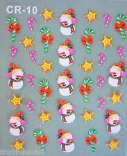 Christmas White Snowflakes Candy Cane Bows Snowman Design 3D Nail Art Stickers