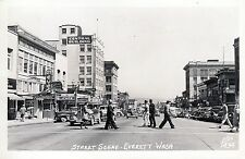 RPPC of a Street Scene in Everett Wash. by Ellis 1948 cancel stores cars 3152