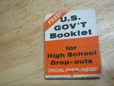 Vintage U.S. Gov't Booklet for High School Drop-outs Used Matchcover