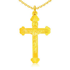 New Real 999 24k Yellow Gold Lucky Solid Bless Cross Pendant 1.75g