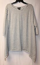NEW WOMENS PLUS SIZE 4X 26W GRAY & WHITE STRIPED SHIRT TUNIC TOP W SHARKBITE HEM