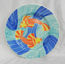 Signed Hand Painted Plate with Koi Carp Decoration
