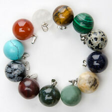 Wholesale Fashion Mixed natural stone round ball charms pendants 50pcs/lot
