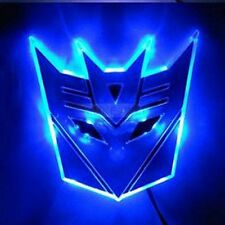 "4"" Blue LED Transformers Decepticon Autobot 3D Logo Emblem Badge Light Sticker"