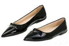 NEW PRADA BLACK PATENT LEATHER LOGO POINTED TOE BALLET FLAT SHOES 38/US 8