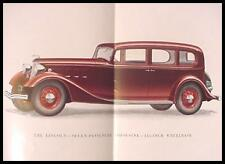 "1934 Lincoln V-12 Color Brochure, 136"" 145"" Sedan Limo, Xlnt with Envelope"