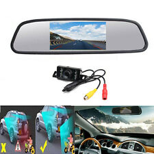 "4.3"" Car LCD Mirror Monitor with Reverse Backup Camera Wired Kits DC 12V"